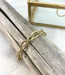 Bracelet grosse maille - acier 316L doré à l'or fin 18K.