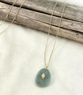 Long collier pendentif pierres naturelles