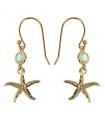 Boucles Plaquées Or - Pierre en Cristal Aquamarine - Étoile de Mer