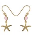 Boucles Plaquées Or - Pierre en Cristal Rose - Étoile de Mer