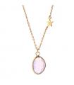 Collier Pierres Fines Transparentes - Goutte Rose Opal  et Étoile