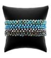 Bracelet Fantaisie Ethnique — Verre Cristal Facetté — Bleu & Gris