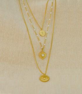 Collier Sautoir Triple Brins Acier Chirurgical 316L - Soleil, Perle blanche & Zircon