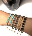 Bracelet jonc 5 pierres naturelles véritables - Druzy ou turquoise